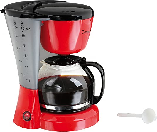 Domoclip DOM163RN Independiente - Cafetera (Independiente, Cafetera de filtro, 1,2 L, De café molido, 800 W, Negro, Rojo): Amazon.es: Hogar
