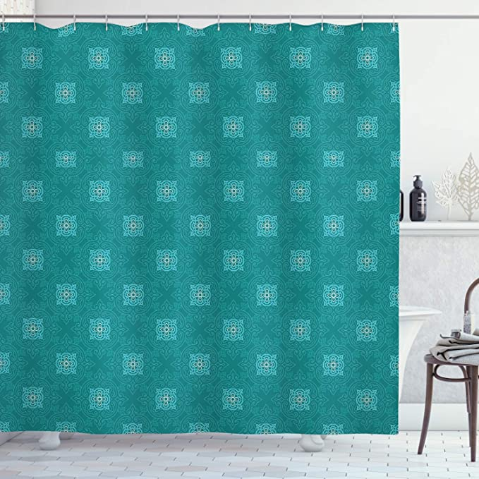Mermaid Shower Curtains Ocean Blue Teal Fish Scales Geometric Rhombus Bathroom Curtains Proof Resistant Fabric Weighted Bath Curtain Washable Tub Shower Curtain for Holiday 12 Hooks 153x183 cm