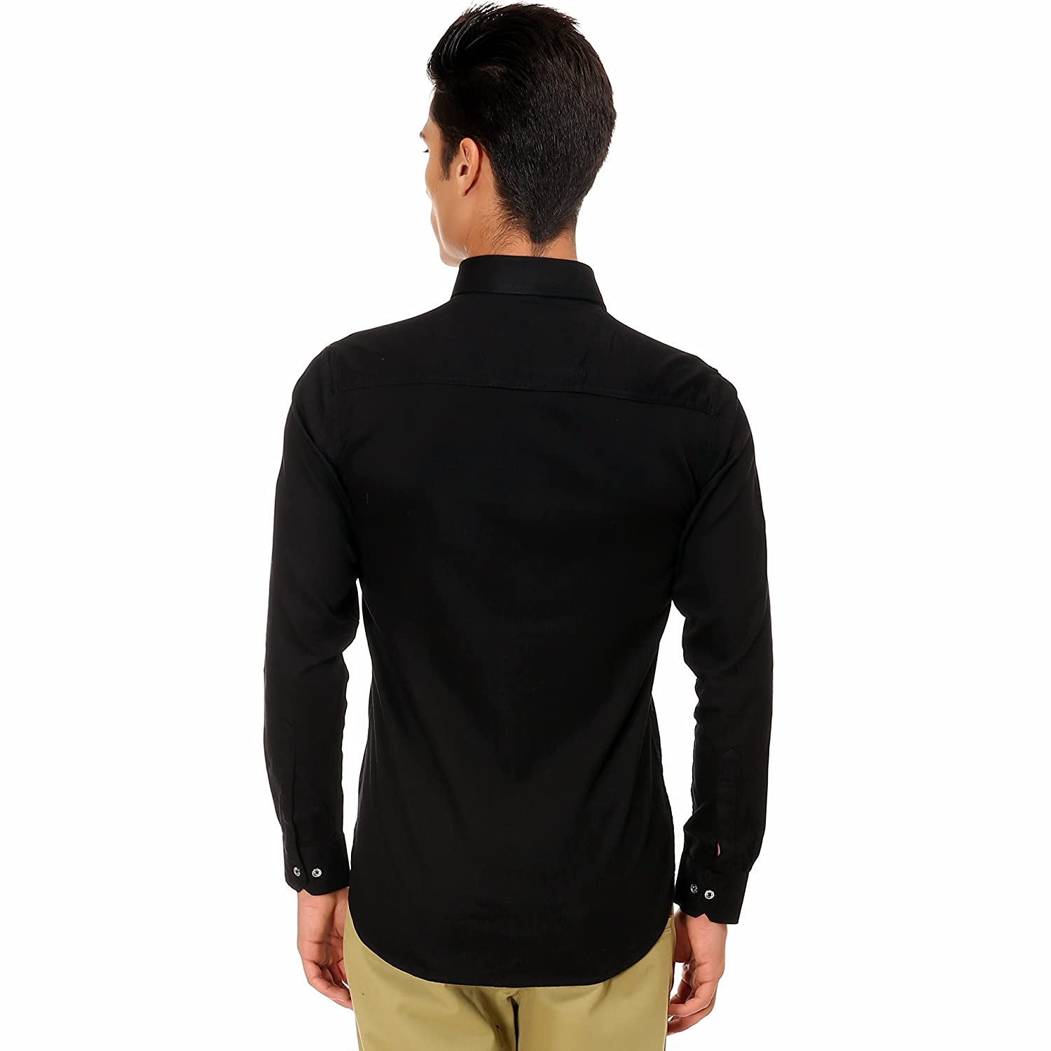 f3081e141089 Variksh Black Colored Cotton Casual Self Design Shirt For Men s  Amazon.in   Clothing   Accessories