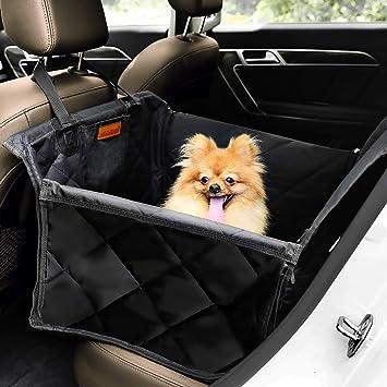 Looxmeer Hunde Autositz Für Kleine Mittlere Hunde Hundesitz Auto Autositzbezug Mit Sicherheitsgurt Und Verstärkter Wände Für Rückbank Wasserdicht Reißfest Hundedecke Für Rücksitzschutz Schwarz Haustier
