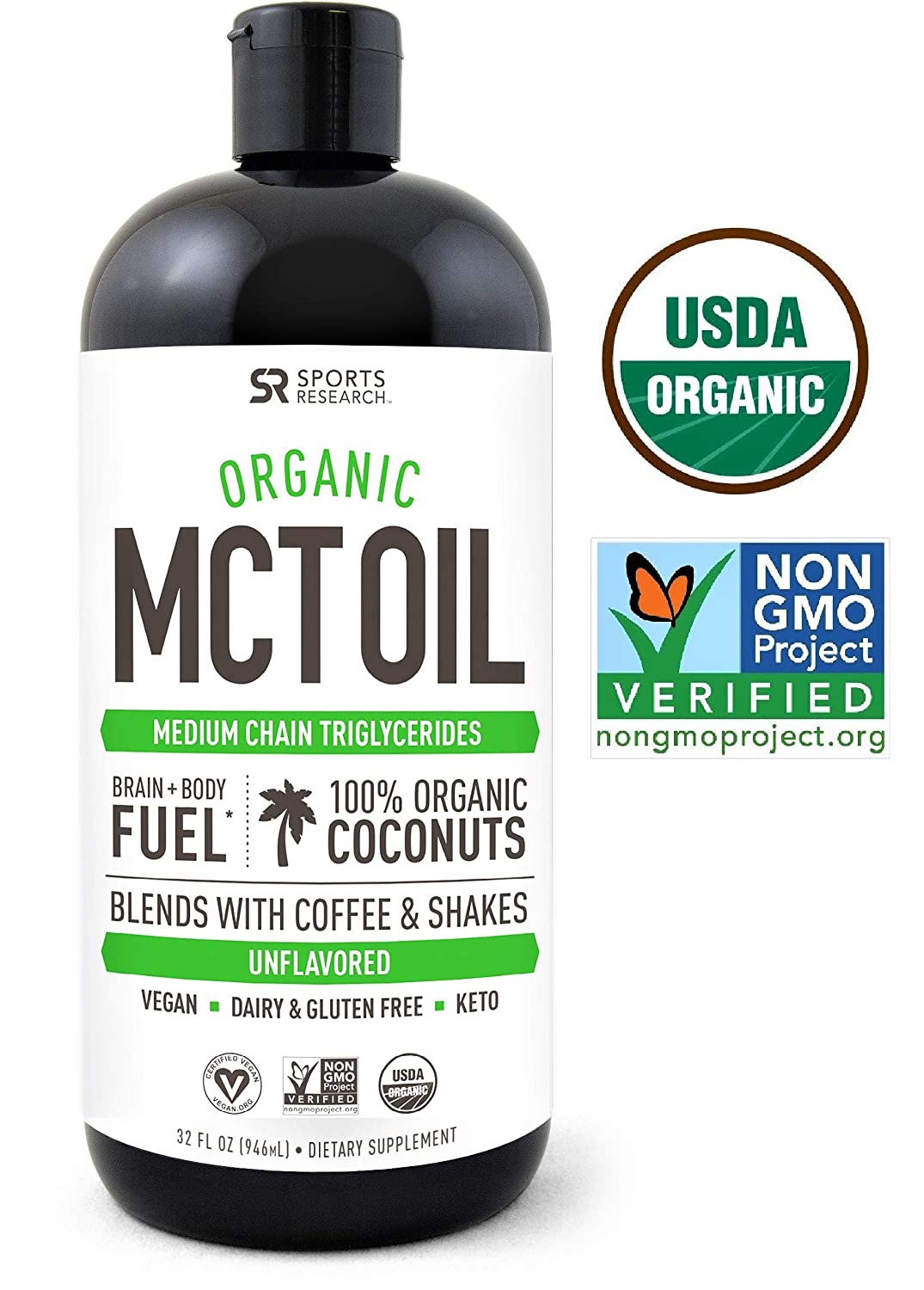 Organic MCT Oil derived from ONLY Coconut- 32oz   Great in Keto Coffee,Tea,  Smoothies & Salad