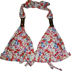 Gianni Bini Womens Bikini Top Sc Ring Halter Polyester Red Ditzy Floral