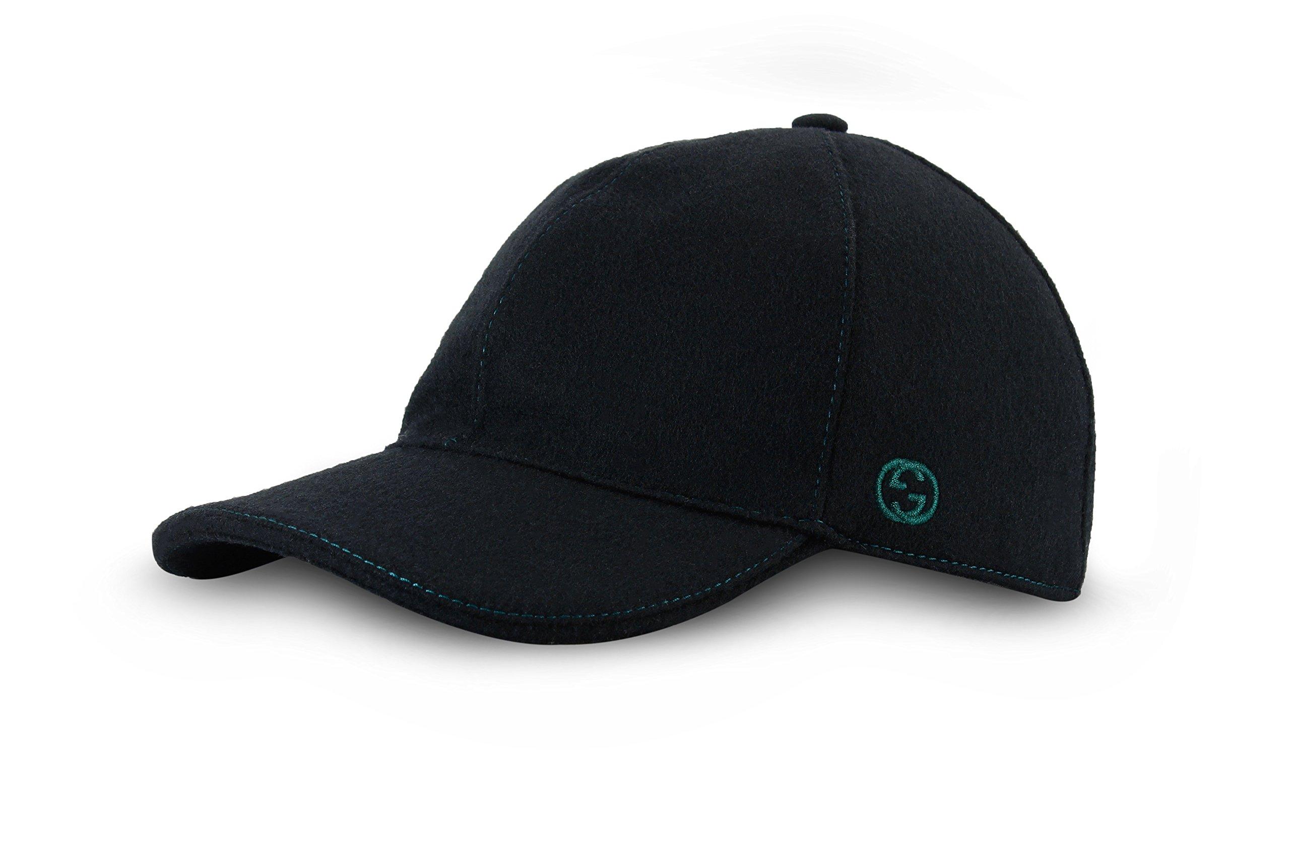 Gucci Signature Web Stripe Wool Baseball Cap, Black (Nero) 353505 (L (Large)/59 cm/23.2 In)