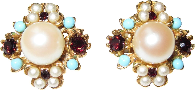 Decorativa de oído de clips y perlas blancas rojas granate de piedras pequeñas turquesa dorado Mix de piedras preciosas mano único regalo para mujeres Fabricado en Italia.