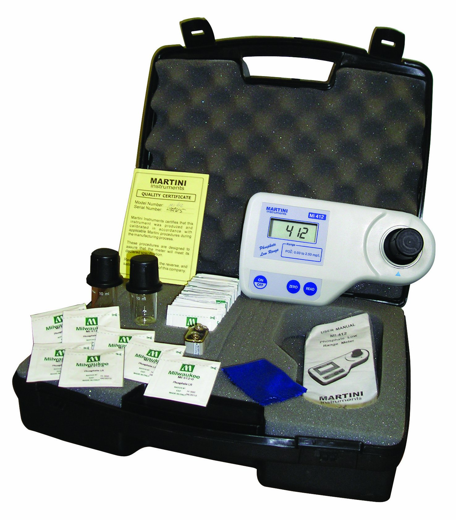 Milwaukee Mi412 Phosphate Low Range Photometer, 192mm Length x 104mm Width x 52mm Height, 0.00 - 2.50 mg/L, 0.01 mg/L Resolution, LCD Display