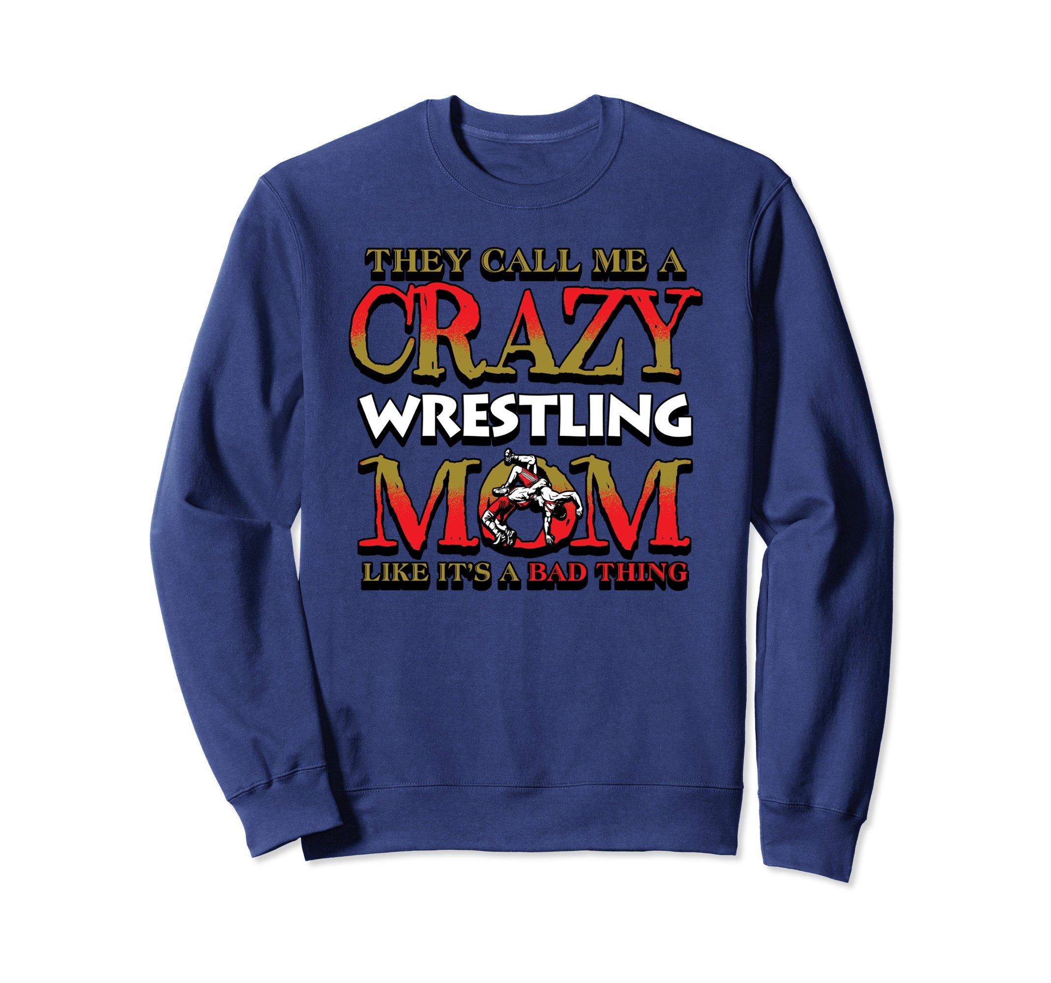 Unisex Wrestling Sweatshirt -Crazy wrestling Mom Sweater Small Navy by Wrestling Shirt by Crush Retro