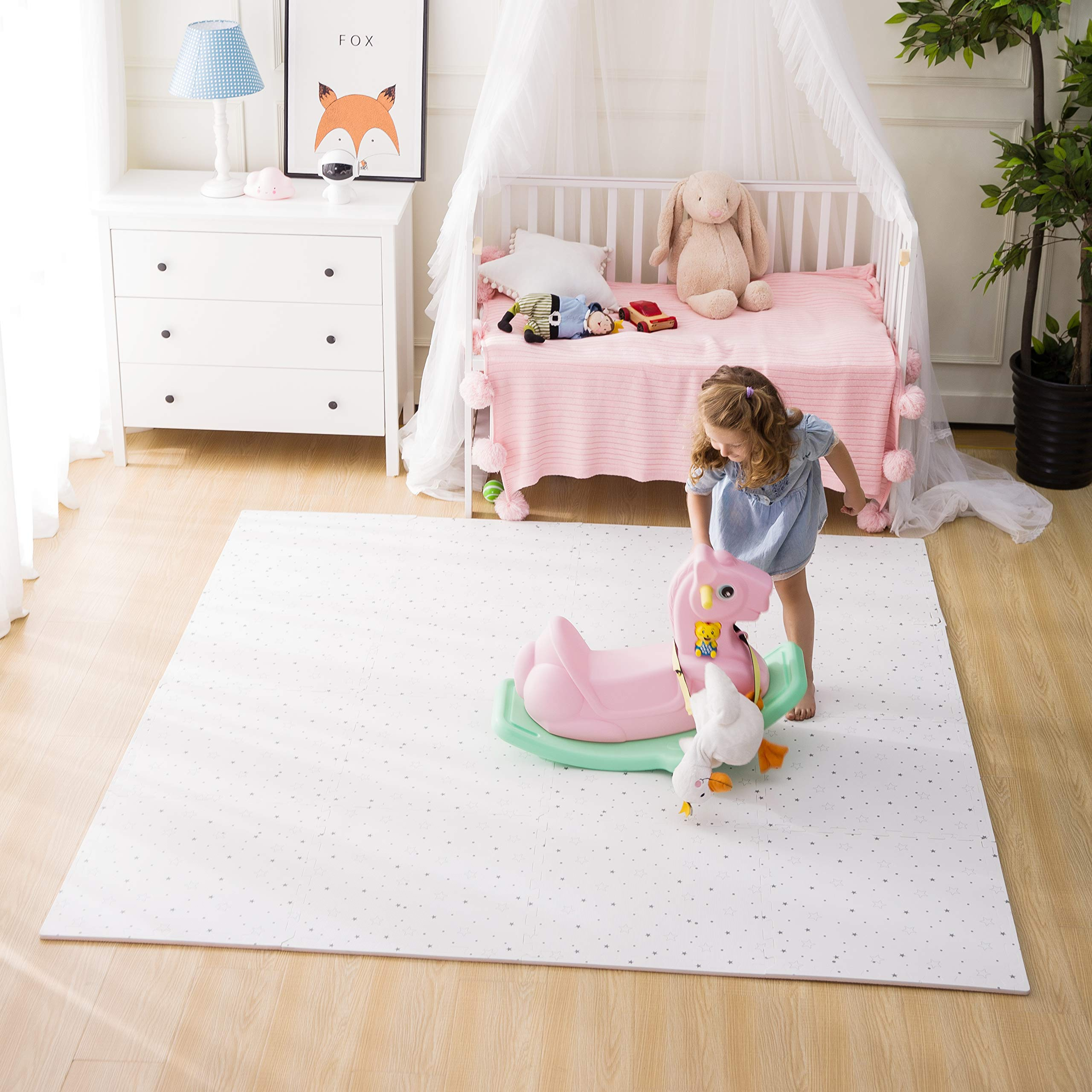 FORSTART Baby Play Mat, 9 Pieces Non-Toxic Foam Play Mat for Infants, Extra Large (60'' x 60'') Thick (0.8'') Playmats Floor Puzzle Tiles Soft Crawling Mat for Toddlers, Stylish Pet-Friendly by FORSTART