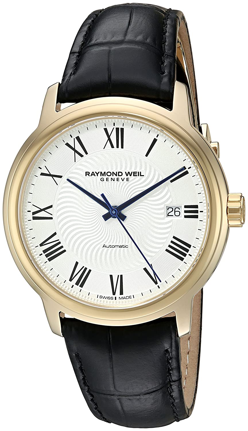 Amazon.com: Raymond Weil Mens Maestro Swiss Gold-Tone and Leather Automatic Watch, Color:Black (Model: 2237-PC-00659): Watches