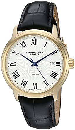 Raymond Weil Mens Maestro Swiss Gold-Tone and Leather Automatic Watch, Color