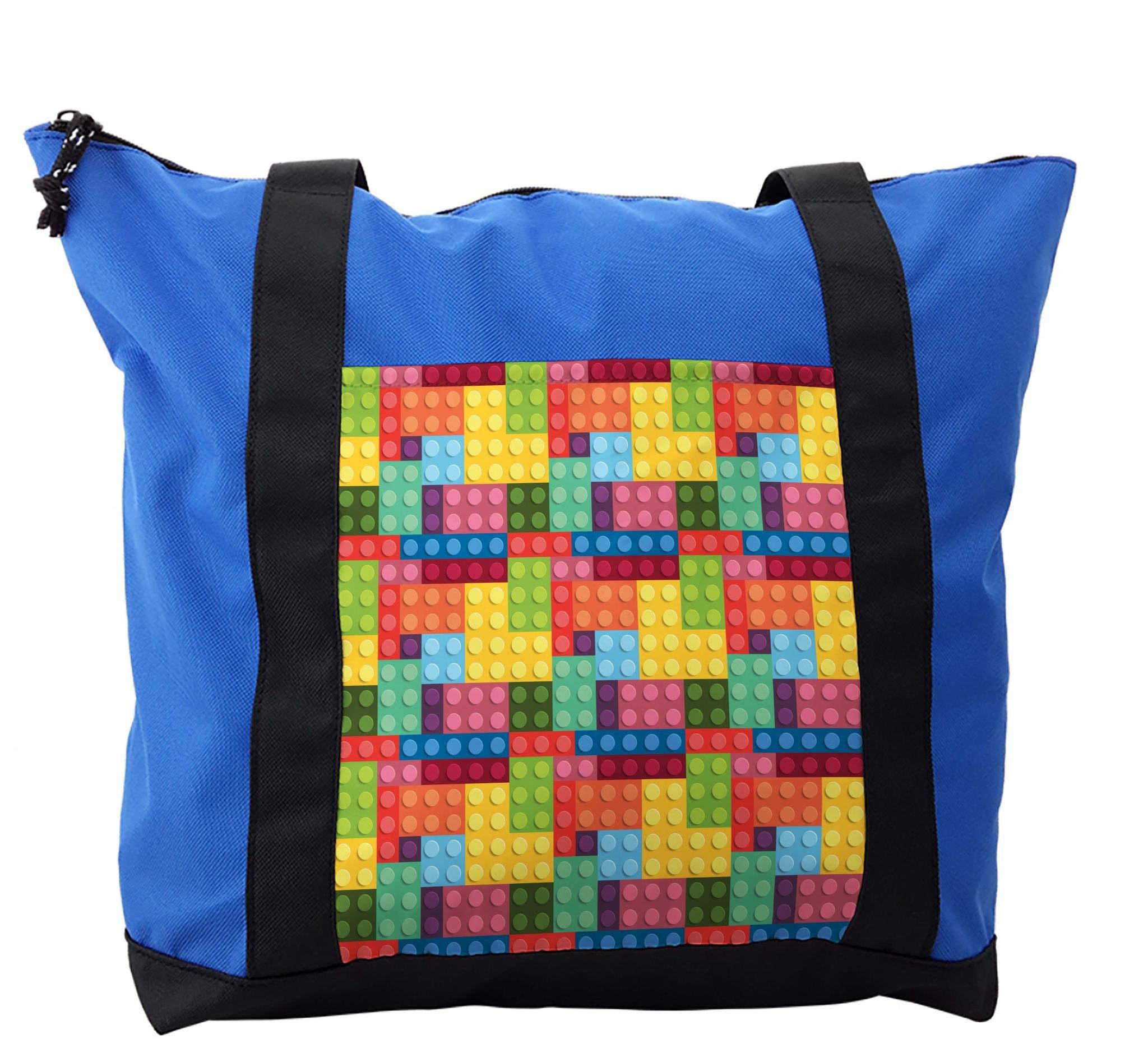 Lunarable Colorful Shoulder Bag, Kids Building Toy Blocks, Durable with Zipper