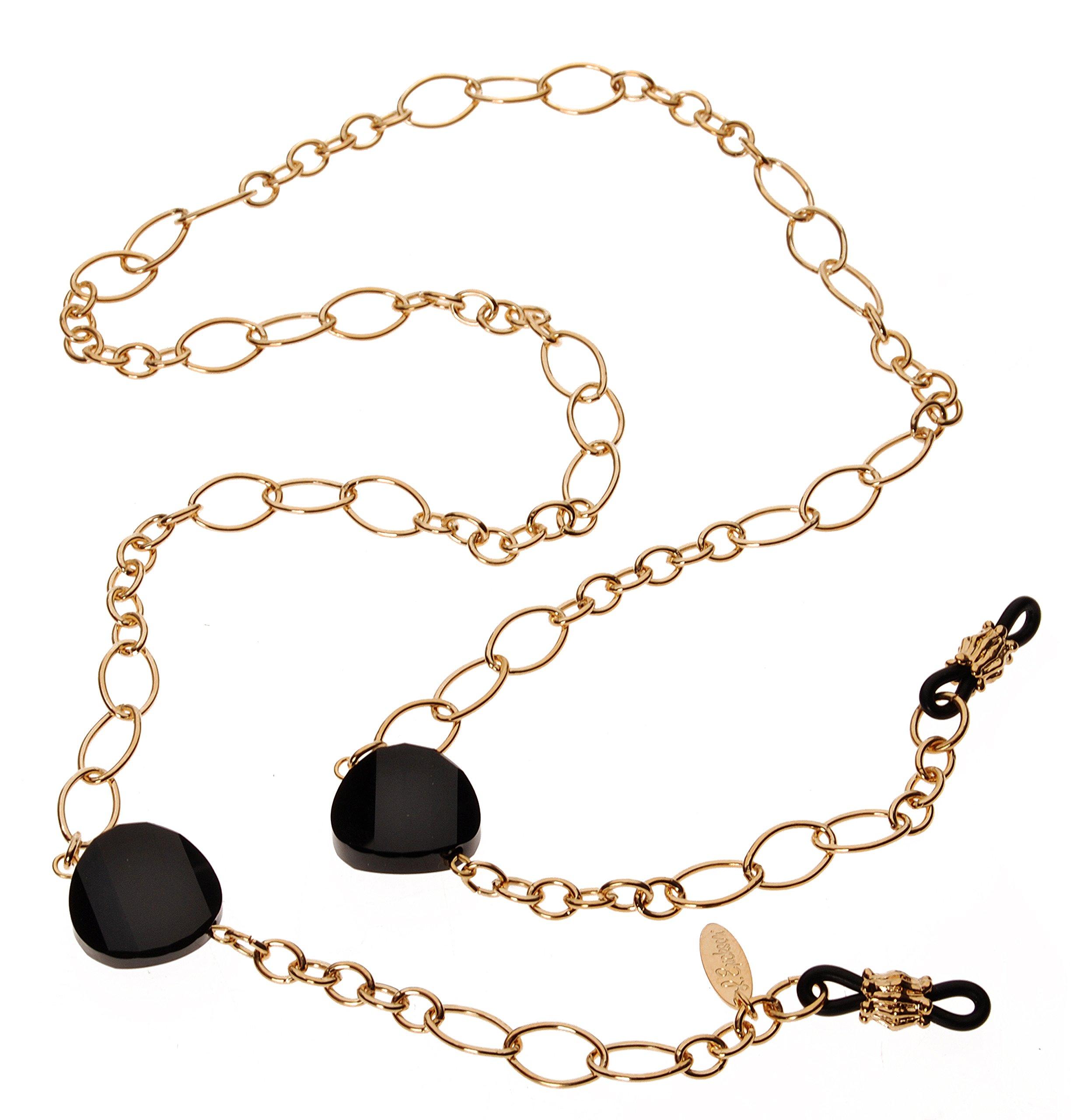 L. Erickson Spellbound Eyeglass Chain - Jet/Gold