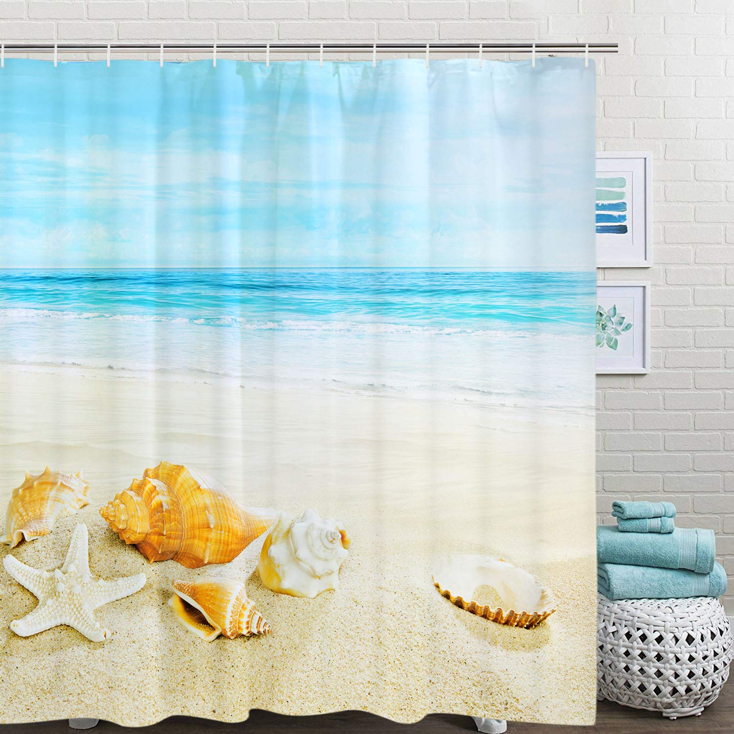 BLEUM CADE Sea Beach Theme Shower Curtain Ocean Starfish Bathroom Shower Curtain Durable Mildew Resistant Waterproof with 12 Hooks