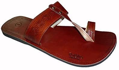 a3436dc63 Handcrafted Luxury Men s Rajasthani Leather Slippers Brown ...