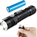 LED Flashlight Rechargeable, Akale LED Handheld Flashlight Water-Resistant, (for Camping and Hiking) with Super Bright CREE LED, 4 Light Modes, 18650 Battery Included