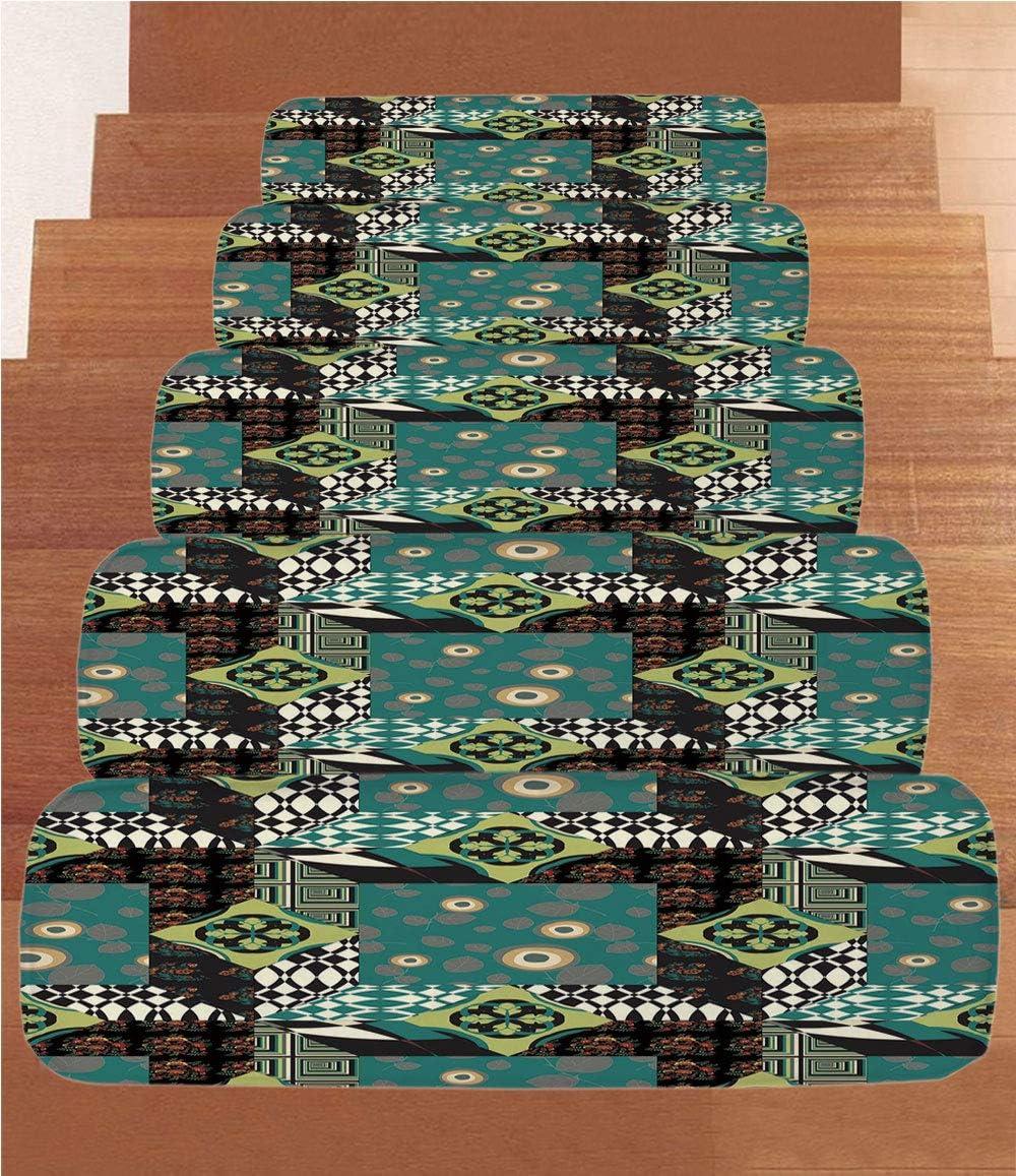 SoSung - Juego de 5 Alfombrillas de Forro Polar para Escalera, diseño Abstracto: Amazon.es: Juguetes y juegos