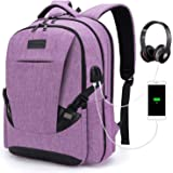 Tzowla Travel Laptop Backpack Waterproof Business Work School College Bag Daypack with USB Charging&Headphone Port for Men Women Boy Girl Student Durable Luggage Backpacks Fit 15.6/17Inch(Purple)