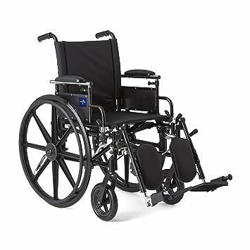 Medline robusto y resistente silla de ruedas con flip-back para armas, extraíble la