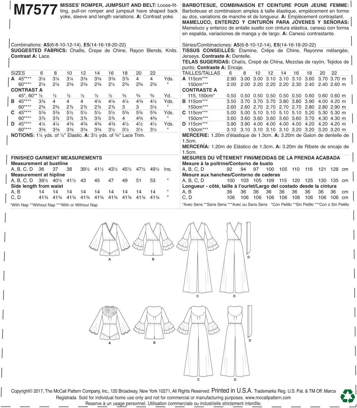 Belt Jumpsuit McCalls Patterns Misses Cross-Bodice Romper