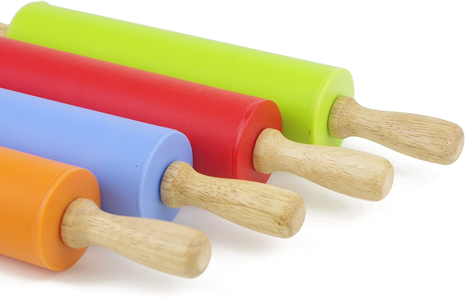 Blue, 12 inch Remeel Silicone Rolling Pin Non-Stick Surface Wooden Handle