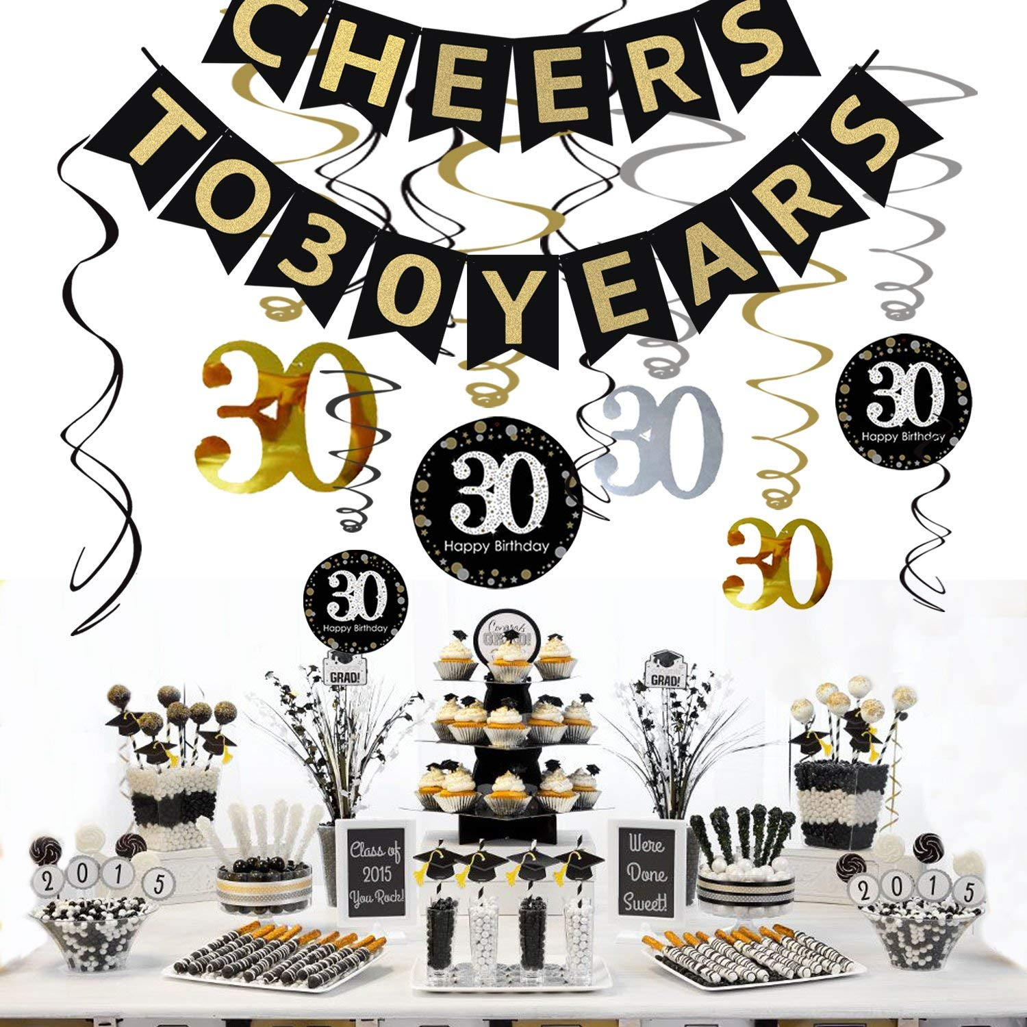 9pcs Tissue Paper Pom Poms for 30 Years Old Party Supplies black/&gold/&silver Happy Birthday Banner Balloons 30pcs Black Silver and Gold Latex Balloons Toupons 30th Birthday Party Decorations Kit