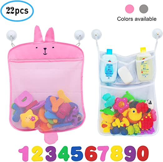 """2 pcs Kids Baby Bath Tub Toy Bag Hanging Organizer Storage Bag Large 18/""""x14/"""""""