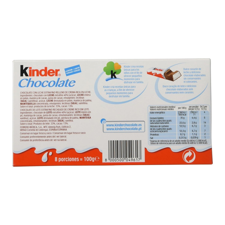 Kinder Chocolate Barritas de Chocolate con Leche - Pack de 8 x 12.5 g - Total : 100 g: Amazon.es: Amazon Pantry