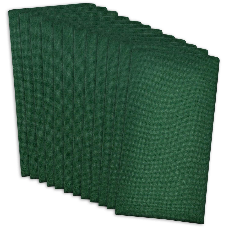 CC Home Furnishings 12枚セット ダークグリーン ソリッドパターン ビュッフェ ディナー スクエアナプキン 16インチ   B07DBMNKQC