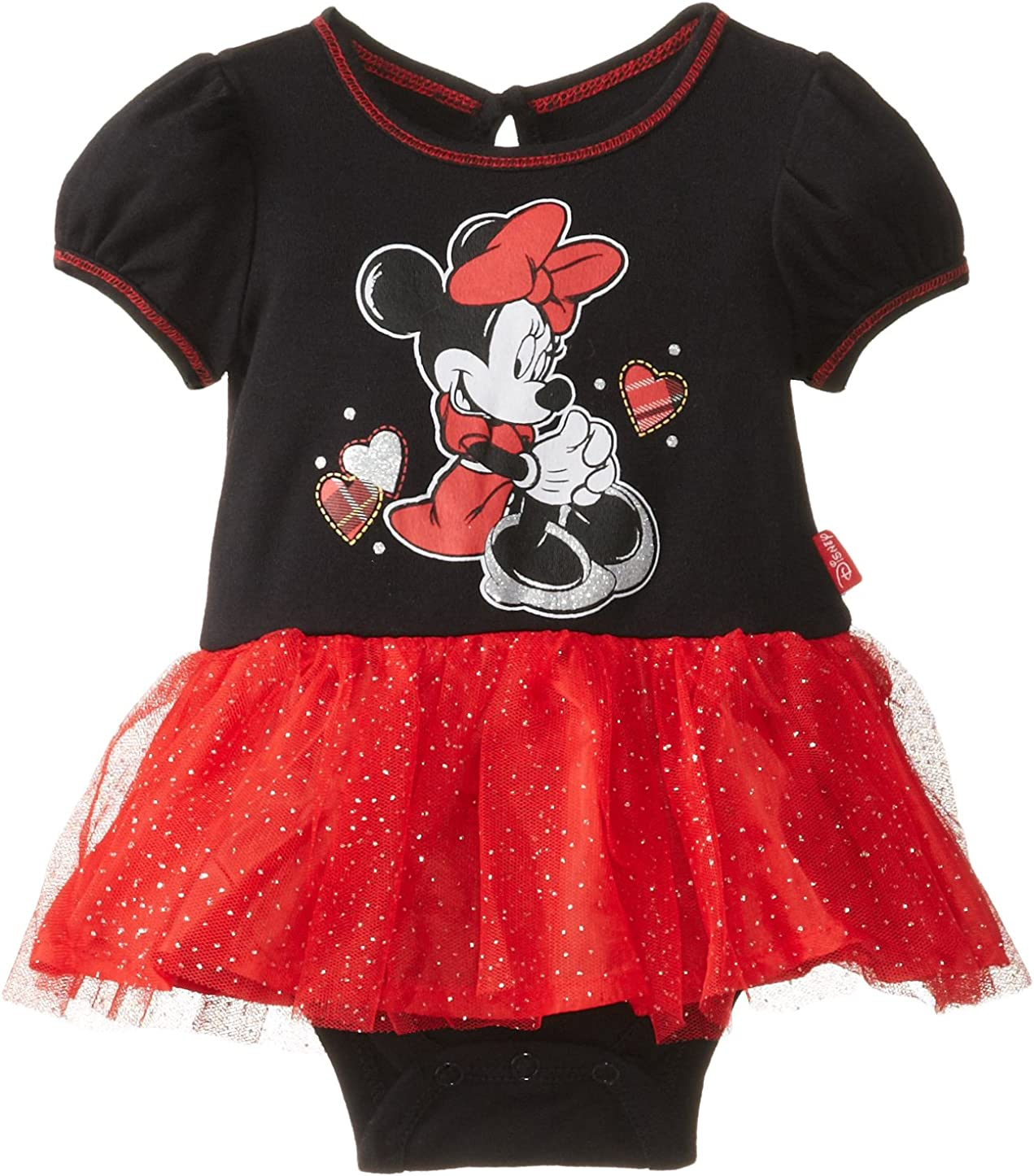 Disney Minnie Mickey Mouse Infant Baby Girls Bodysuit /& Skirt Outfit Set