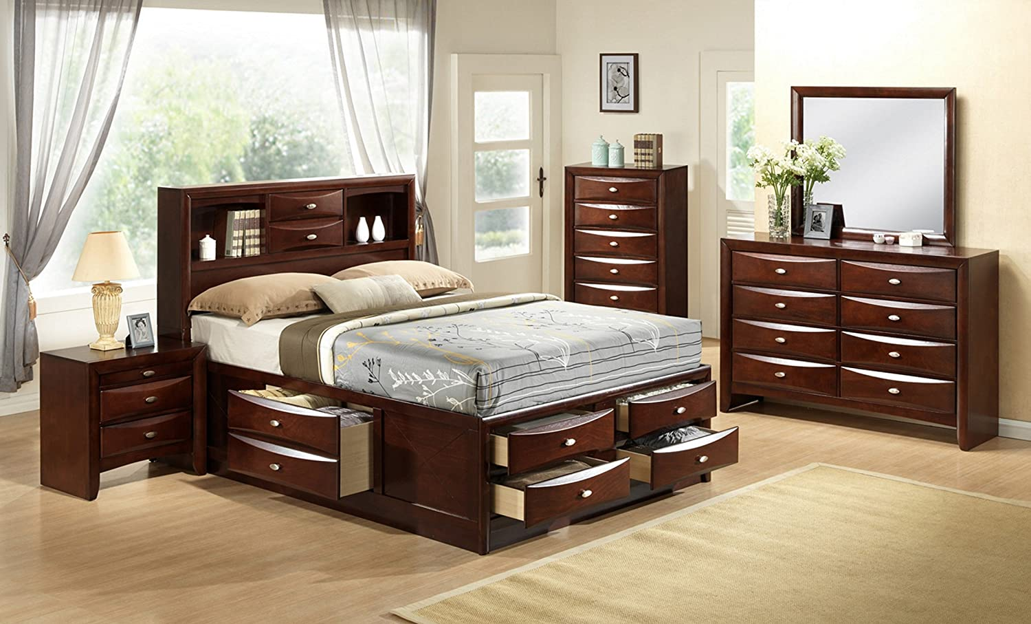 Amazon.com: Roundhill Furniture Emily 111 Wood Storage Bed, Queen ...
