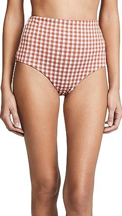 3a84a200534c0 Mara Hoffman Women's Lydia High Waisted Bikini Bottom Swimsuit, Bardot  Plaid White Brown, Small