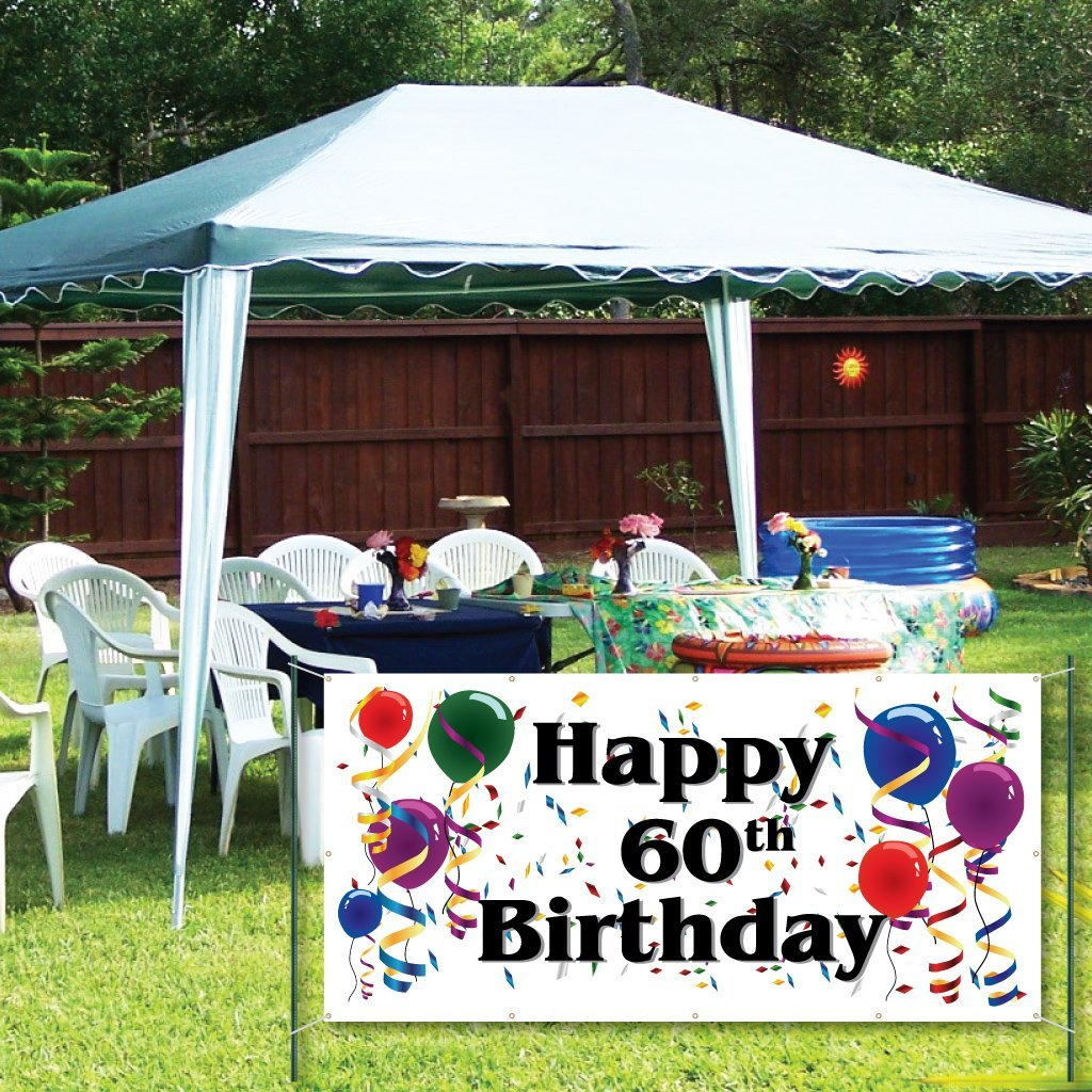 VictoryStore Yard Sign Outdoor Lawn Decorations: Happy 60th Birthday - 4' x 8' Vinyl Bann by VictoryStore (Image #1)