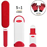 Pet Hair Remover With Self-Cleaning Base, Reusable, Double-Sided, Cat & Dog Hair Brush, Fur and Lint Removal for Furniture, Clothes, Carpet & Car Seats - Pet Grooming Gloves Included - By Ayon