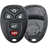 KeylessOption Replacement 5 Button Keyless Entry Remote Key Fob Shell Case and Button Pad -Black