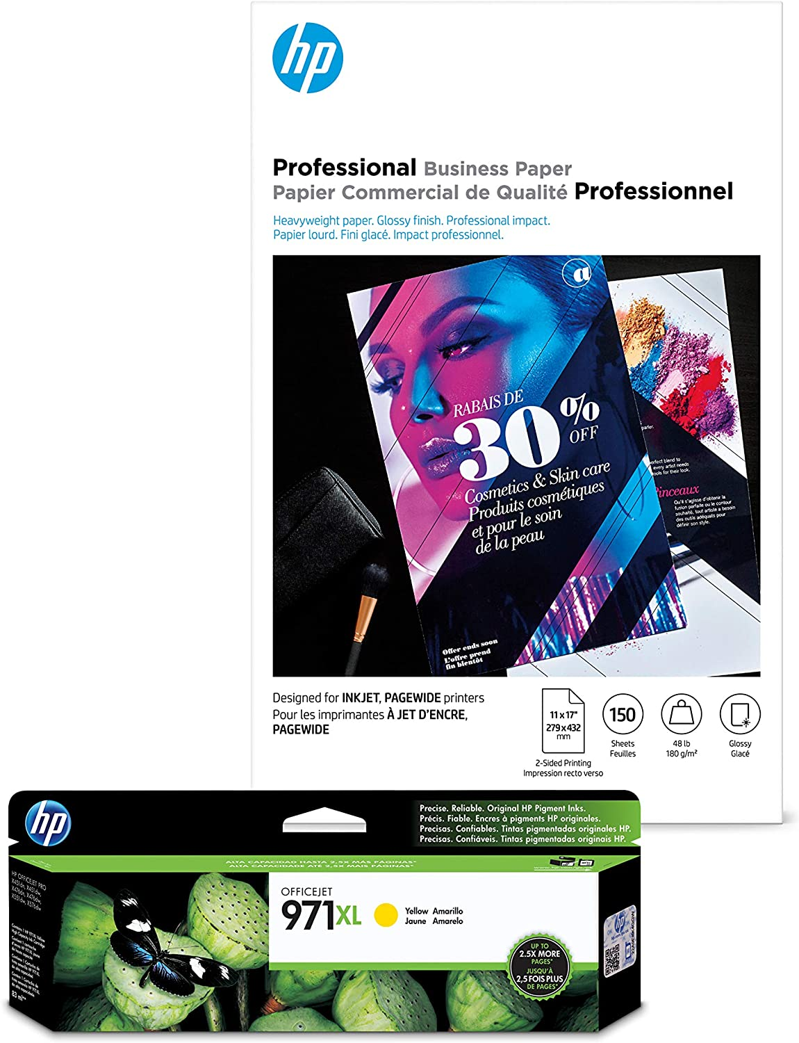 HP 970XL Yellow Ink + HP Professional Business Paper, Glossy, Inkjet, 11x17, 150 sheets