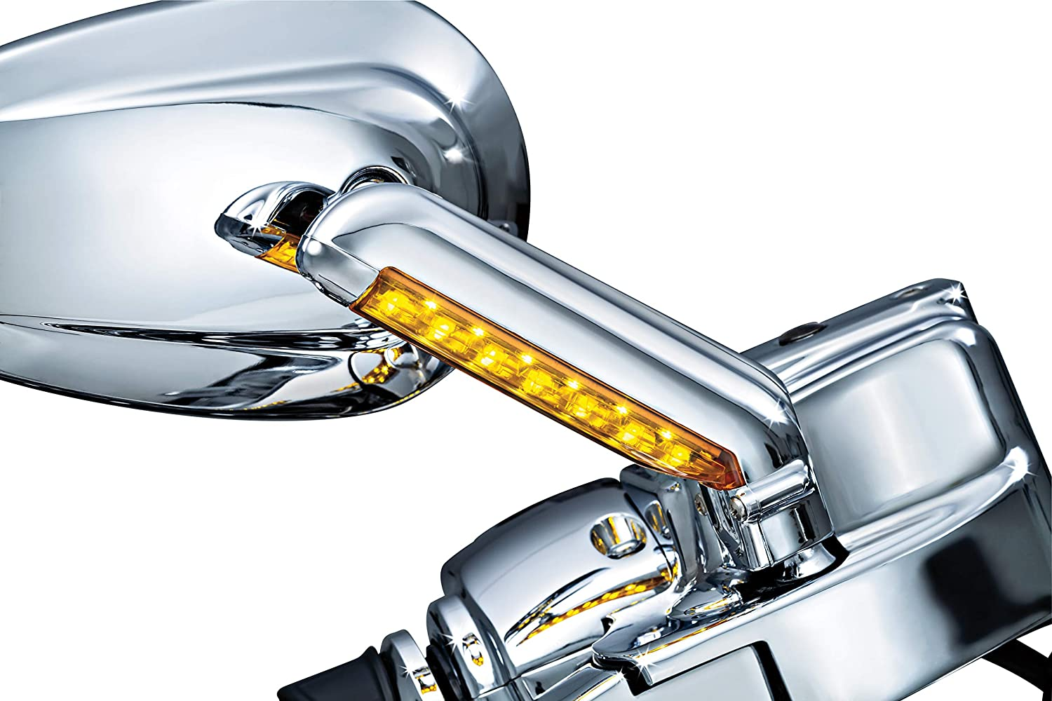 Chrome Kuryakyn 1757 Motorcycle Handlebar Accessory 1 Pair Rear View Side Mirror Stem Covers with LED Running//Turn Signal//Blinker Lights for Harley-Davidson Motorcycles