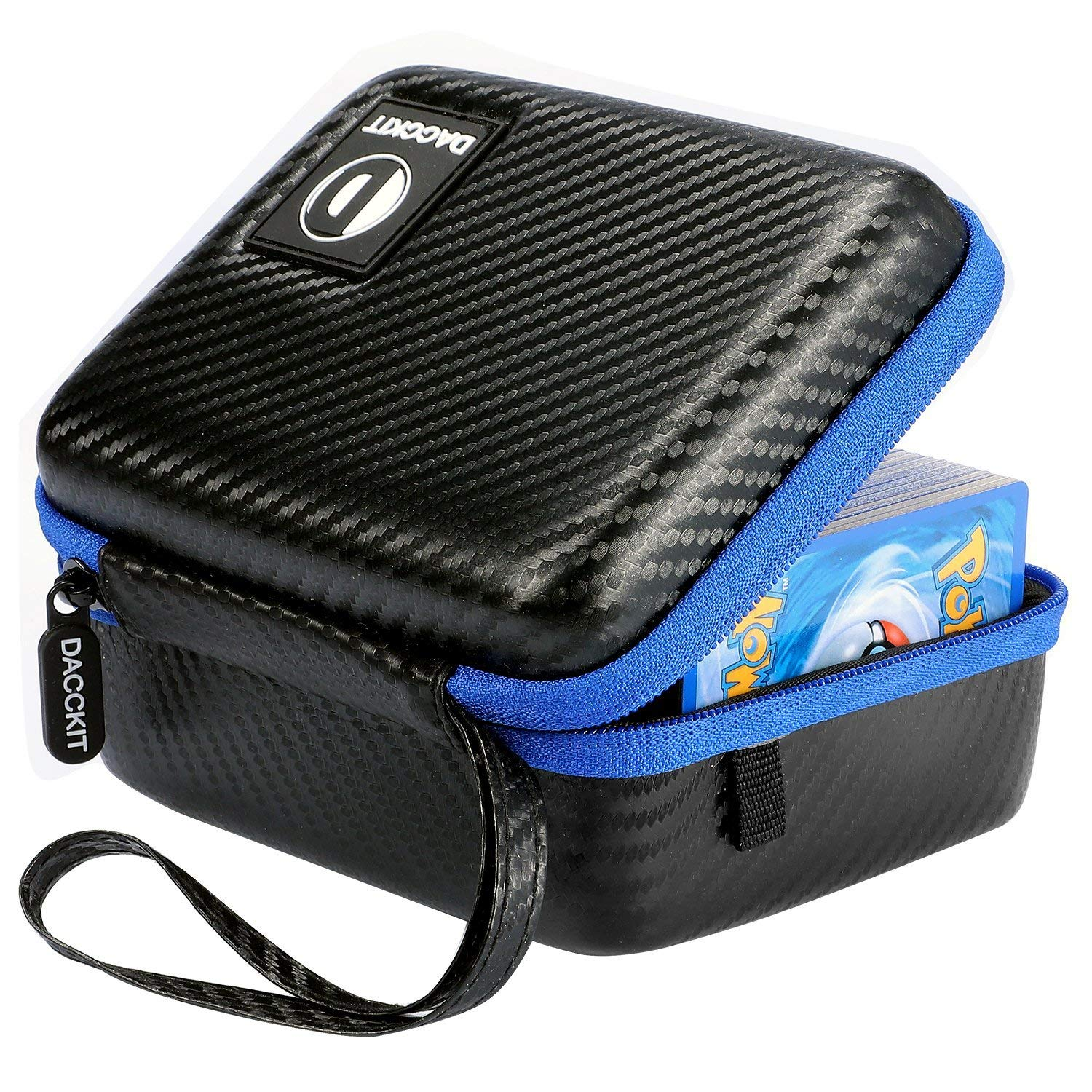 DACCKIT Carrying Case Compatible with Pokemon Trading Cards - Fitsup to 400 Cards, Card Holder with Hand Strap & Carabiner, Black