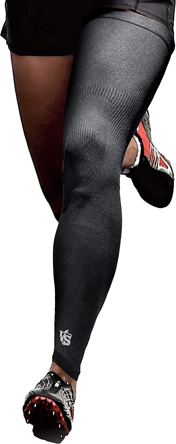 Vital Salveo -Germanium Recovery Compression Sports Full Leg Sleeve Length Thigh Calf Long Knee Sleeve Support Single Tight. For Basketball, Arthritis Men and Women(1 PC)-Large