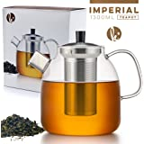 Tea Pot Set with Infuser by Kitchables - Loose Leaf Stove Top Glass Teapot Kettle with Stainless Steel Strainer (5 Cup, 44oz)