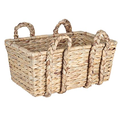 Household Essentials Large Rectangular Floor Storage Basket With Braided  Handles, Light Brown