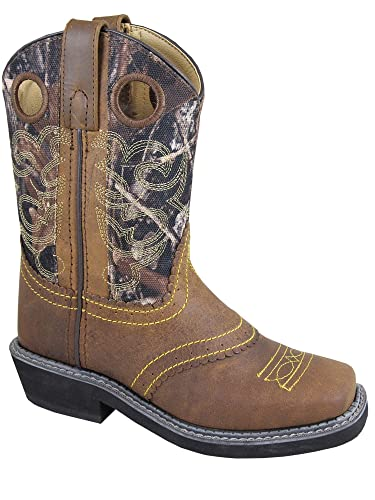e9a75441902 Smoky Children's Pawnee Embroidered Distressed Western Cowboy Boots - Brown