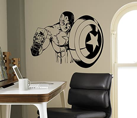Avengers Wall Decal Captain America Superhero Vinyl Sticker - Vinyl wall decals avengers
