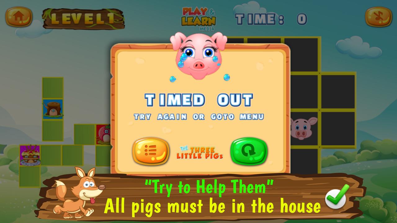 Três Porquinhos - Jogos pré-escolares para crianças