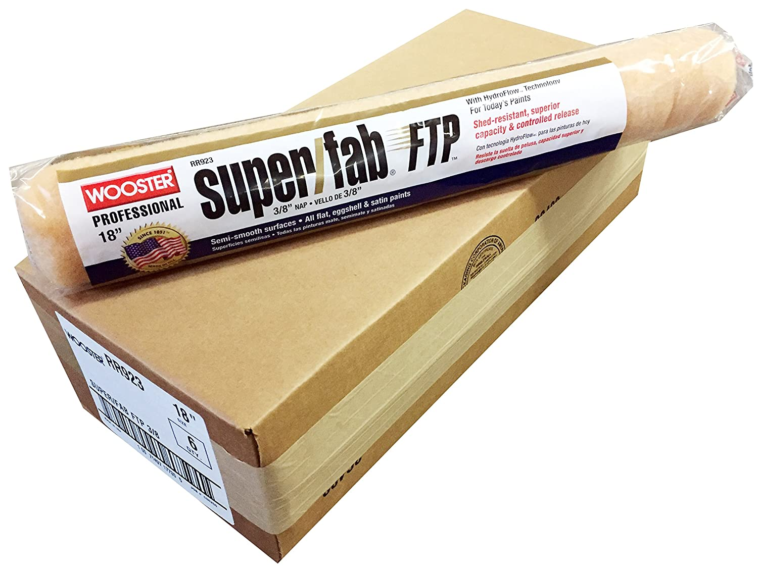Wooster Brush RR923-18 Super/Fab FTP 3/8 Nap Roller Cover - Pack of 6