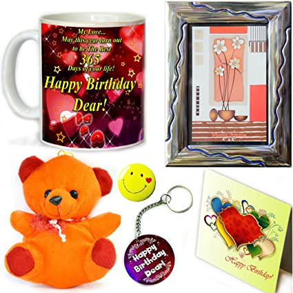 Tohfah4u Happy Birthday Gift Set For Boyfriend 1 Mug Key Ring Photo Frame Greetings Card Smiley Badge And Teddy Bear Amazonin Home