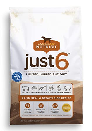 Rachael Ray Nutrish Just 6 Limited Ingredient Diet, Lamb Meal & Brown Rice  Recipe Dry Dog Food