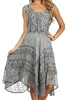 Sakkas Sundara Stonewashed Rayon Embroidered Mid Length Dress Grey 1X-2X