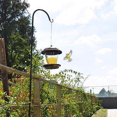 Black Shepherds Hook 65 Inch Plant Hanger Bird Feeder Pole Rust Resistant Coatin