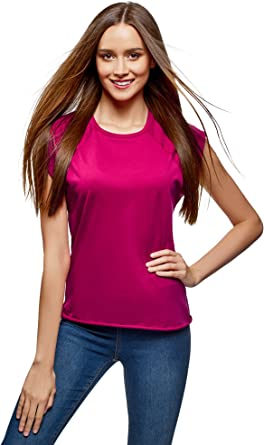 oodji Ultra Mujer Camiseta de Algodón Básica: Amazon.es: Ropa y ...