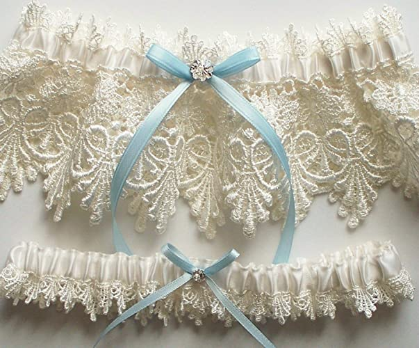 Amazon lace garter wedding garter set with blue satin ribbon lace garter wedding garter set with blue satin ribbon bow and swarovski crystal centering junglespirit Image collections