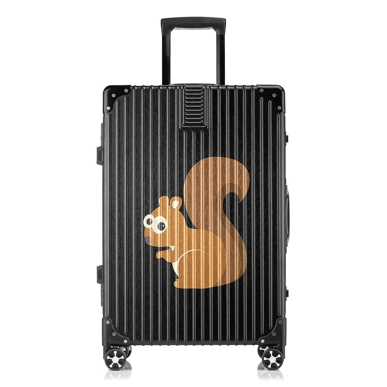 GSHCJ スーツケース かわいい動物 リス キャリーケース 20インチ おしゃれ ブラック Tsaロック搭載 プリント ハード 超軽量 軽い 機内持込 ロックファスナー 旅行 ビジネス 出張 海外 修学旅行 丈夫 便利 レディース メンズ 学生 B07RX7M64M